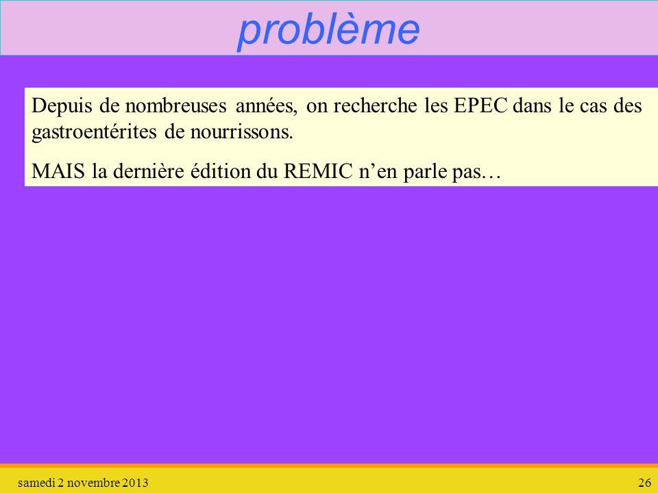 samedi 2 novembre 201326 problème Depuis de nombreuses années, on recherche les EPEC dans le cas des gastroentérites de nourrissons. MAIS la dernière