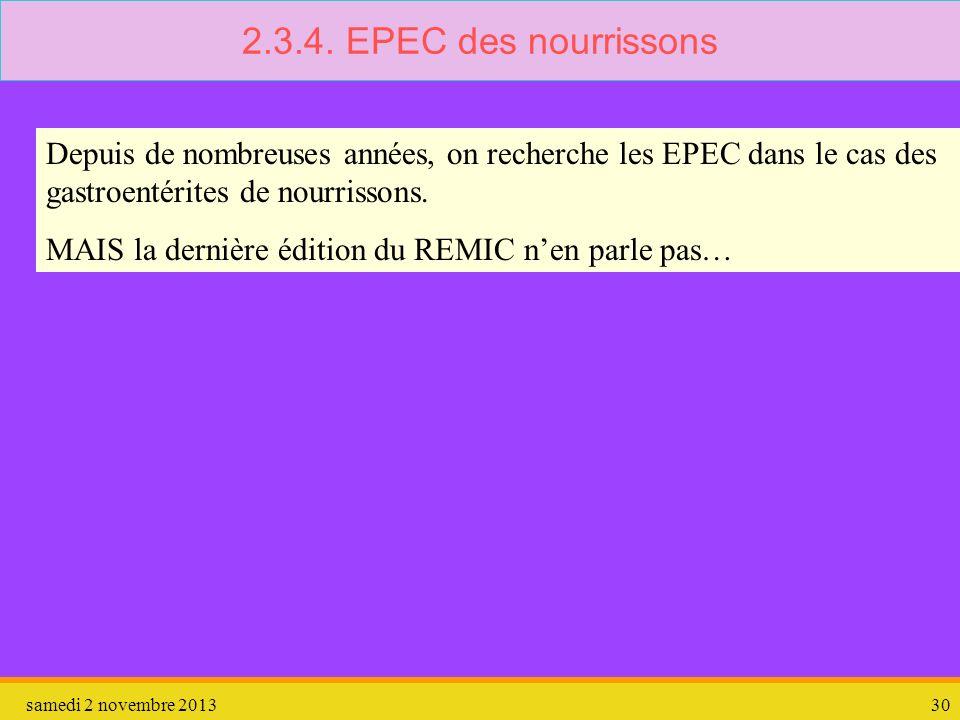 samedi 2 novembre 201330 2.3.4. EPEC des nourrissons Depuis de nombreuses années, on recherche les EPEC dans le cas des gastroentérites de nourrissons