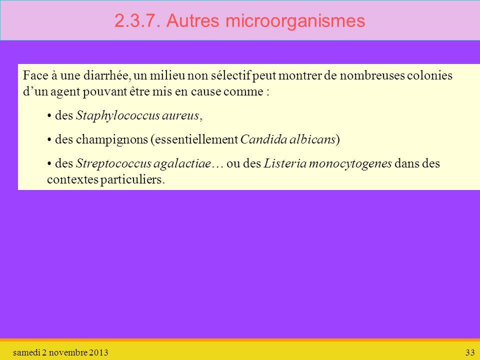 samedi 2 novembre 201333 2.3.7. Autres microorganismes Face à une diarrhée, un milieu non sélectif peut montrer de nombreuses colonies dun agent pouva