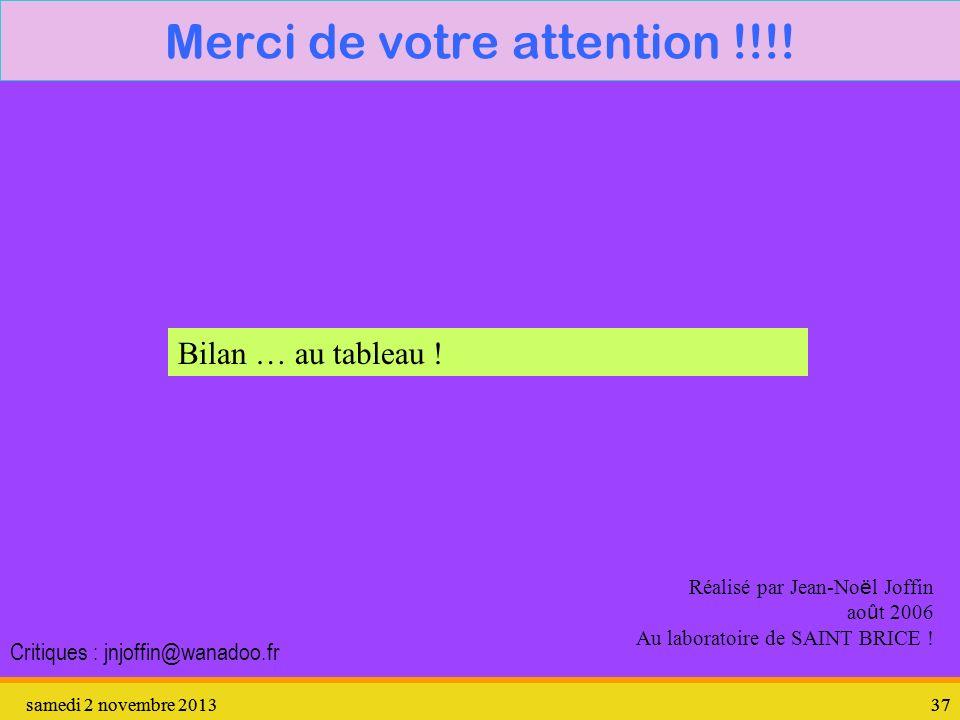 samedi 2 novembre 201337 samedi 2 novembre 201337 Merci de votre attention !!!! Réalisé par Jean-No ë l Joffin ao û t 2006 Au laboratoire de SAINT BRI