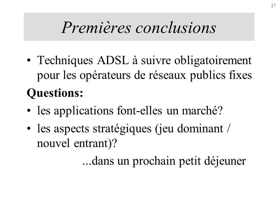 Premières conclusions Techniques ADSL à suivre obligatoirement pour les opérateurs de réseaux publics fixes Questions: les applications font-elles un