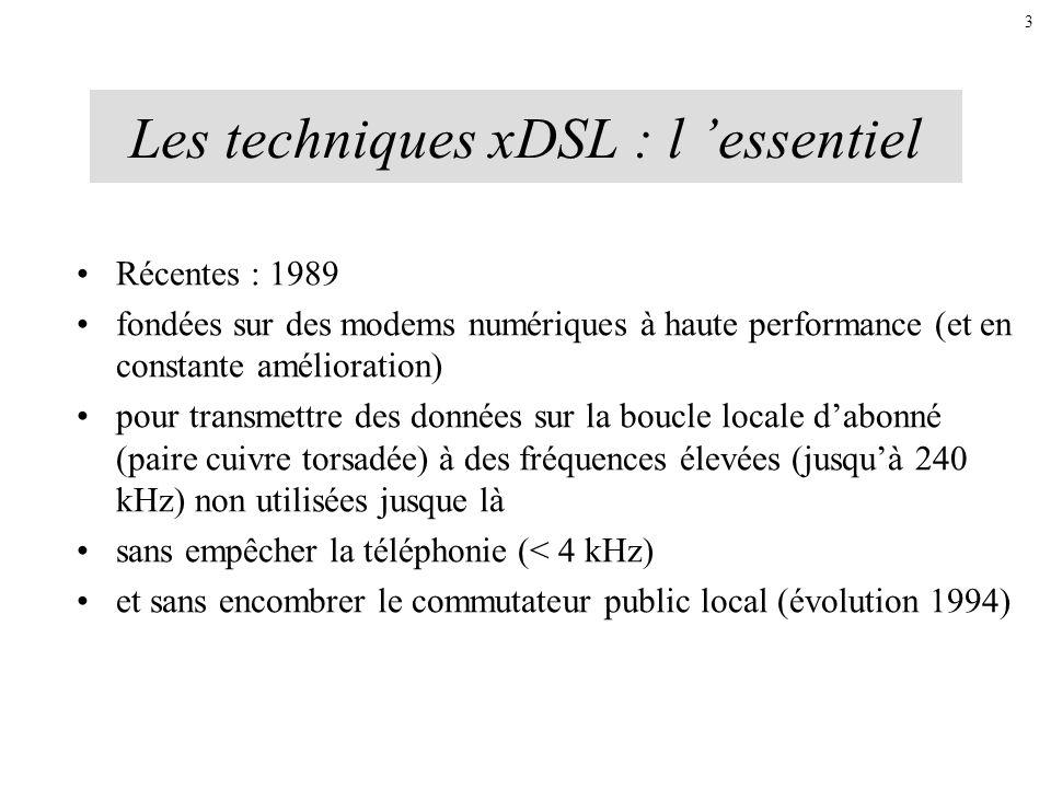Les techniques xDSL : l essentiel Récentes : 1989 fondées sur des modems numériques à haute performance (et en constante amélioration) pour transmettr
