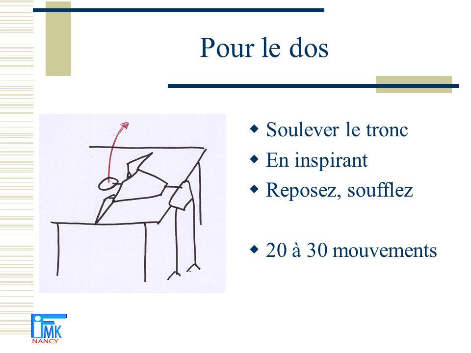 Pour les hanches Si possible, un poids de 1à 2 kg au pied Décollez alternativement les genoux Pas trop haut (15-20 cm) 50 mouvements si possible