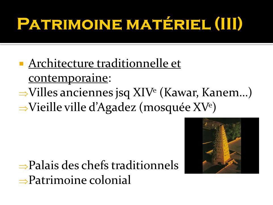 Architecture traditionnelle et contemporaine: Villes anciennes jsq XIV e (Kawar, Kanem…) Vieille ville dAgadez (mosquée XV e ) Palais des chefs tradit
