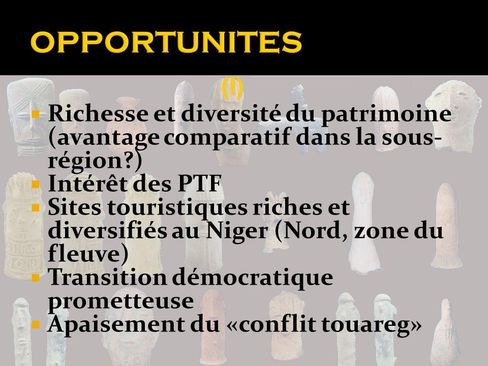 Richesse et diversité du patrimoine (avantage comparatif dans la sous- région?) Intérêt des PTF Sites touristiques riches et diversifiés au Niger (Nor