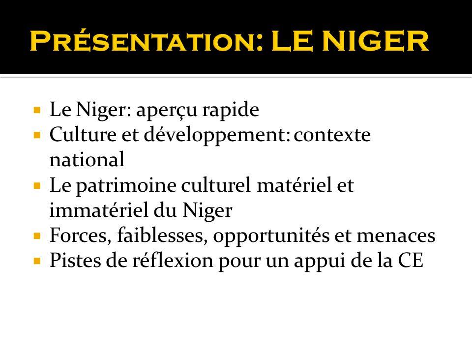 Le Niger: aperçu rapide Culture et développement: contexte national Le patrimoine culturel matériel et immatériel du Niger Forces, faiblesses, opportu