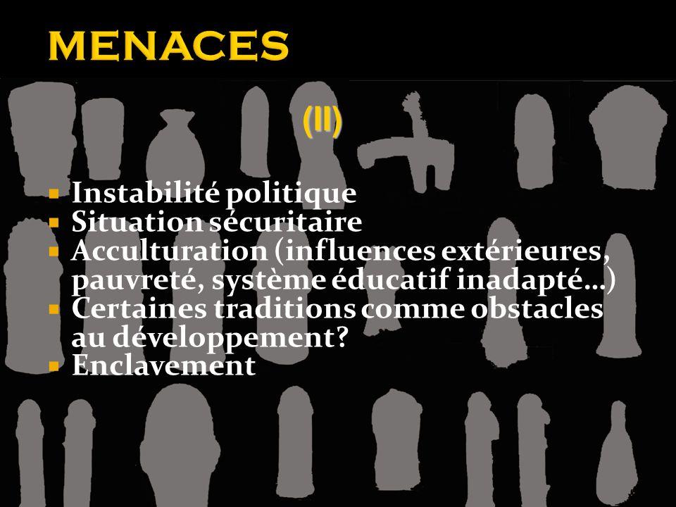 MENACES Instabilité politique Situation sécuritaire Acculturation (influences extérieures, pauvreté, système éducatif inadapté…) Certaines traditions