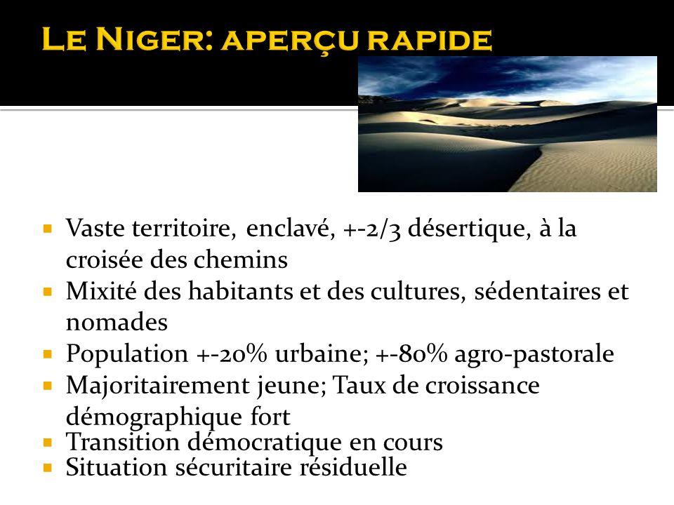 Vaste territoire, enclavé, +-2/3 désertique, à la croisée des chemins Mixité des habitants et des cultures, sédentaires et nomades Population +-20% ur