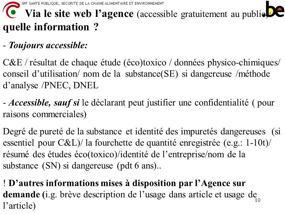 SPF SANTE PUBLIQUE, SECURITE DE LA CHAINE ALIMENTAIRE ET ENVIRONNEMENT 10 Via le site web lagence (accessible gratuitement au public): quelle informat
