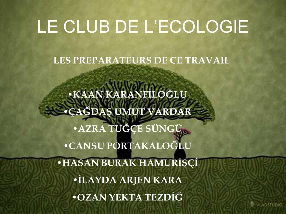 SUR LE CLUB DECOLOGIE Le club décologie est un club actif du Lycée de Galatasaray.