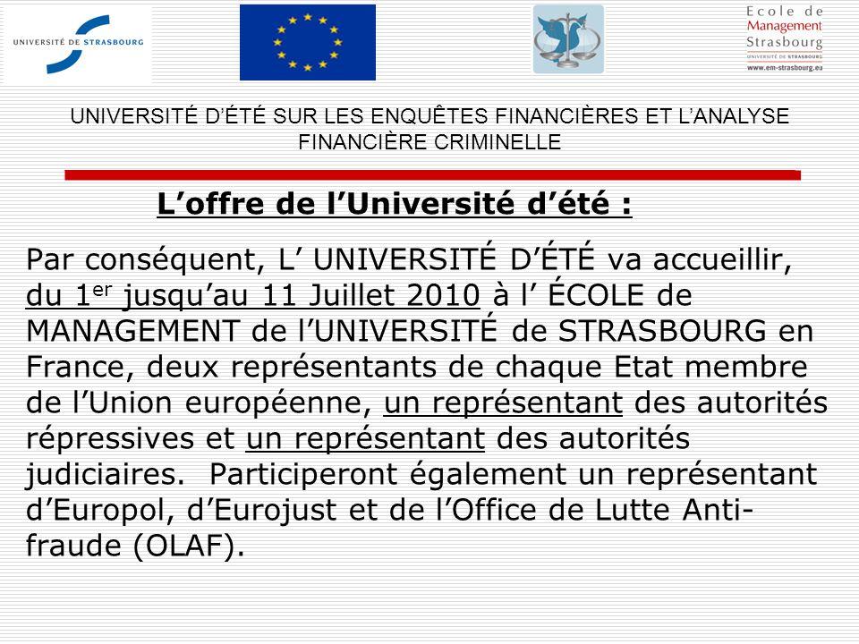 Par conséquent, L UNIVERSITÉ DÉTÉ va accueillir, du 1 er jusquau 11 Juillet 2010 à l ÉCOLE de MANAGEMENT de lUNIVERSITÉ de STRASBOURG en France, deux