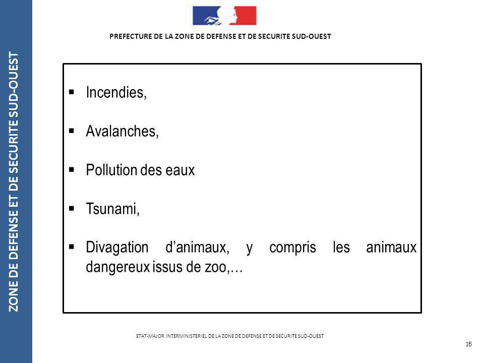 15 PREFECTURE DE LA ZONE DE DEFENSE ET DE SECURITE SUD-OUEST Incendies, Avalanches, Pollution des eaux Tsunami, Divagation danimaux, y compris les ani
