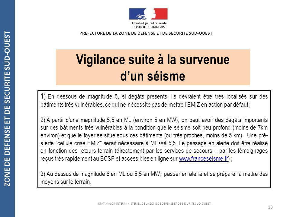 18 ZONE DE DEFENSE ET DE SECURITE SUD-OUEST ETAT-MAJOR INTERMINISTERIEL DE LA ZONE DE DEFENSE ET DE SECURITE SUD-OUEST Vigilance suite à la survenue d