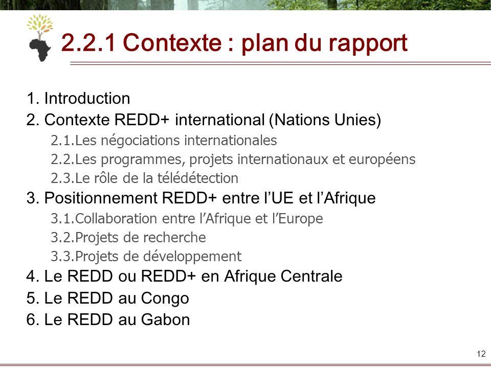 2.2.1 Contexte : plan du rapport 1. Introduction 2. Contexte REDD+ international (Nations Unies) 2.1.Les négociations internationales 2.2.Les programm