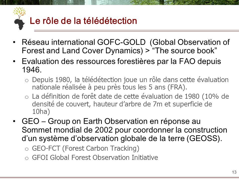 Le rôle de la télédétection Réseau international GOFC-GOLD (Global Observation of Forest and Land Cover Dynamics) > The source book Evaluation des res