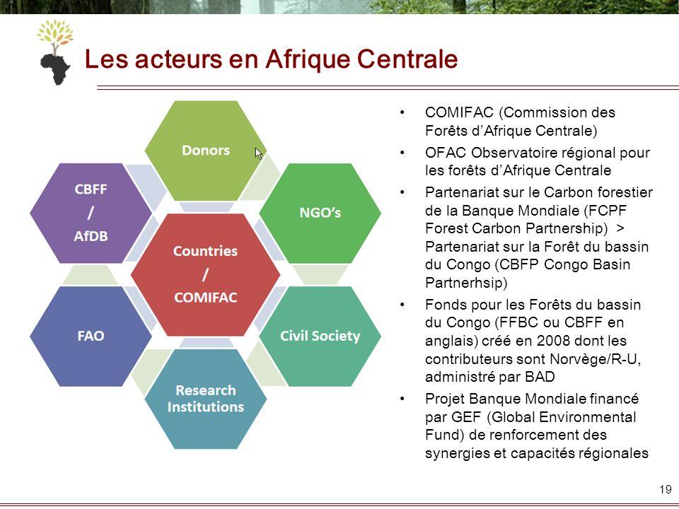 Les acteurs en Afrique Centrale 19 COMIFAC (Commission des Forêts dAfrique Centrale) OFAC Observatoire régional pour les forêts dAfrique Centrale Part