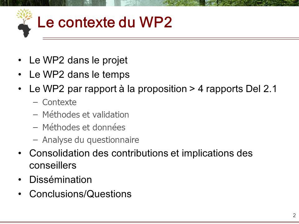 Le contexte du WP2 Le WP2 dans le projet Le WP2 dans le temps Le WP2 par rapport à la proposition > 4 rapports Del 2.1 –Contexte –Méthodes et validati