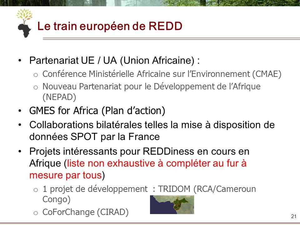 Le train européen de REDD Partenariat UE / UA (Union Africaine) : o Conférence Ministérielle Africaine sur lEnvironnement (CMAE) o Nouveau Partenariat