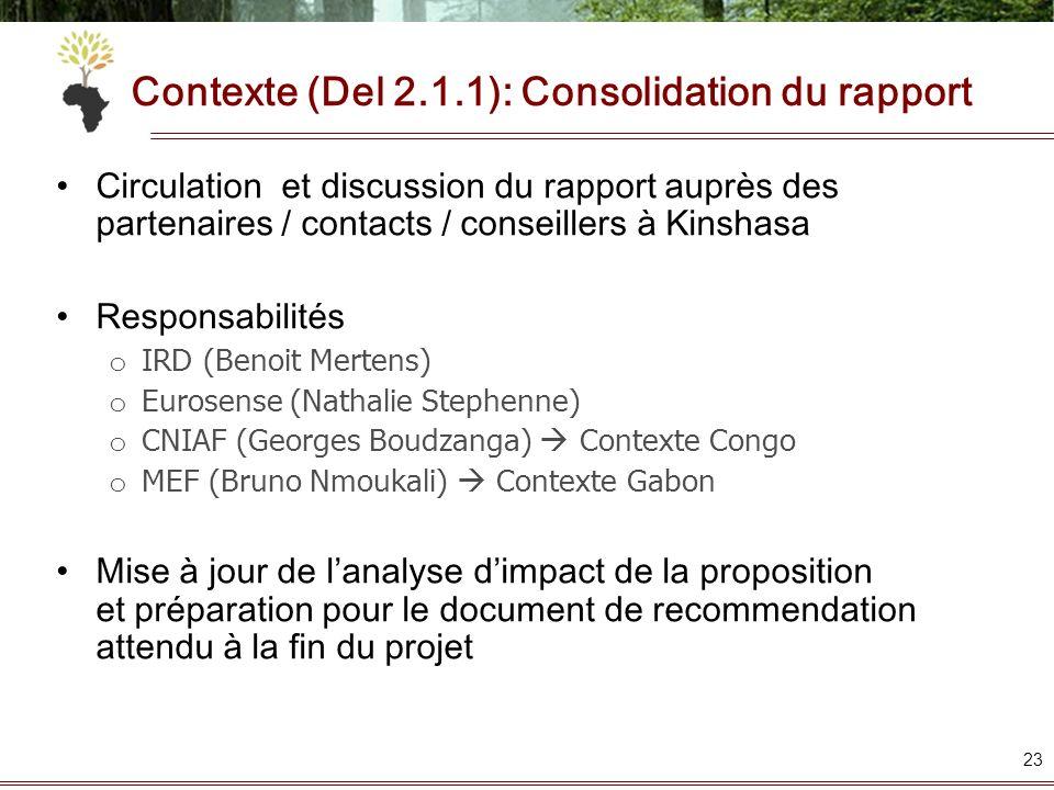 Contexte (Del 2.1.1): Consolidation du rapport Circulation et discussion du rapport auprès des partenaires / contacts / conseillers à Kinshasa Respons