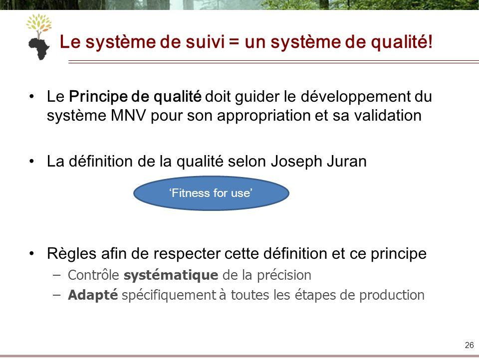 Le système de suivi = un système de qualité! Le Principe de qualité doit guider le développement du système MNV pour son appropriation et sa validatio