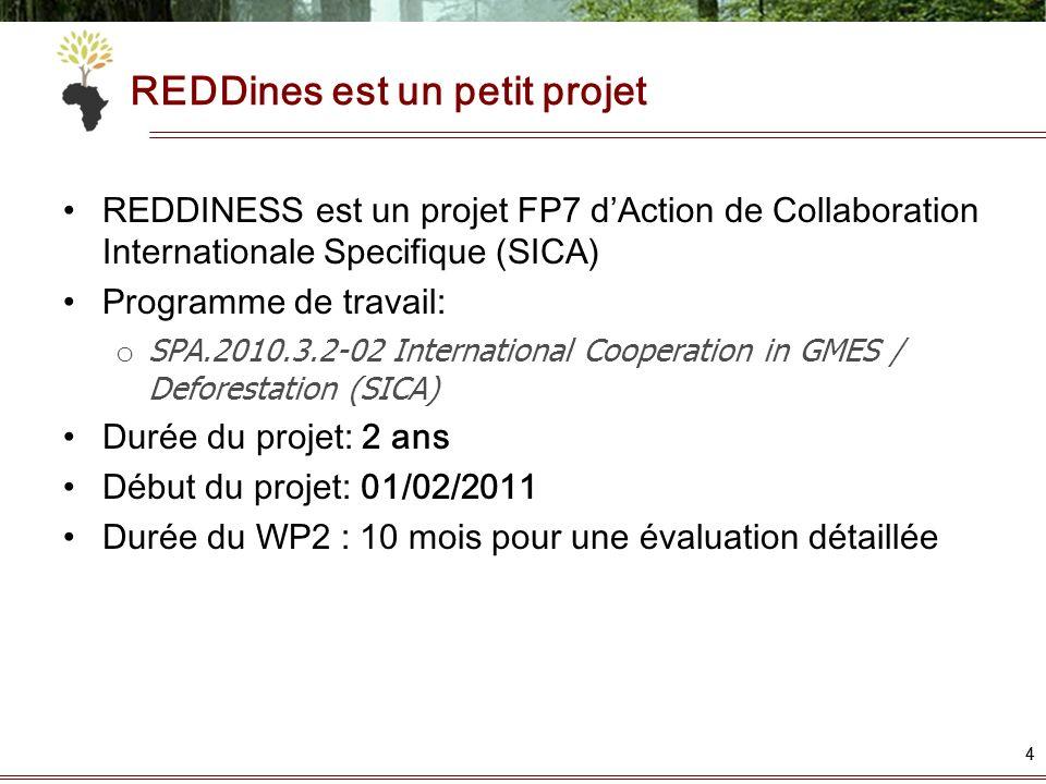 44 REDDines est un petit projet REDDINESS est un projet FP7 dAction de Collaboration Internationale Specifique (SICA) Programme de travail: o SPA.2010