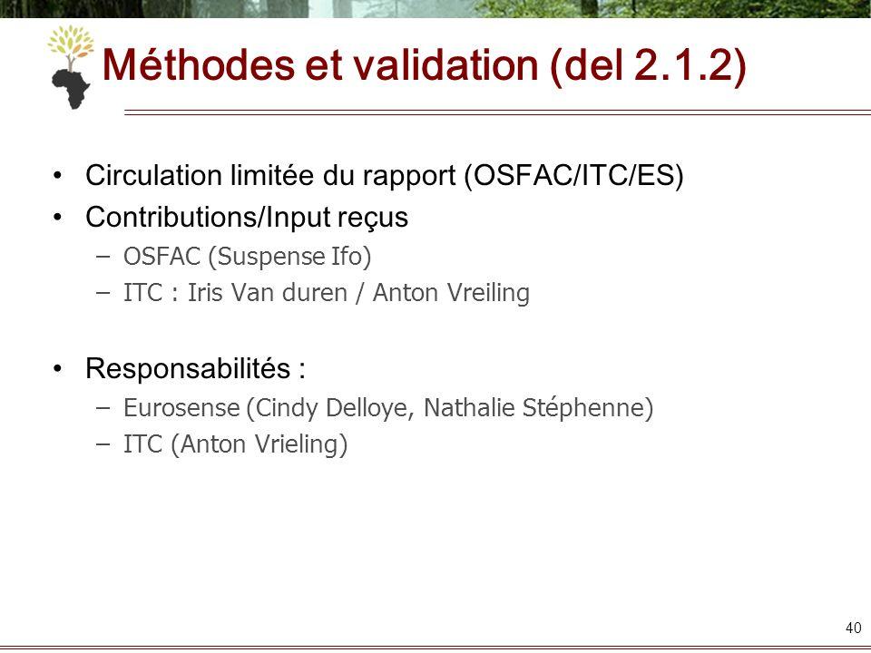 40 Circulation limitée du rapport (OSFAC/ITC/ES) Contributions/Input reçus –OSFAC (Suspense Ifo) –ITC : Iris Van duren / Anton Vreiling Responsabilité