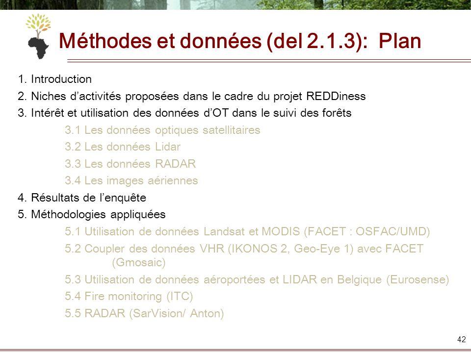 Méthodes et données (del 2.1.3): Plan 1. Introduction 2. Niches dactivités proposées dans le cadre du projet REDDiness 3. Intérêt et utilisation des d