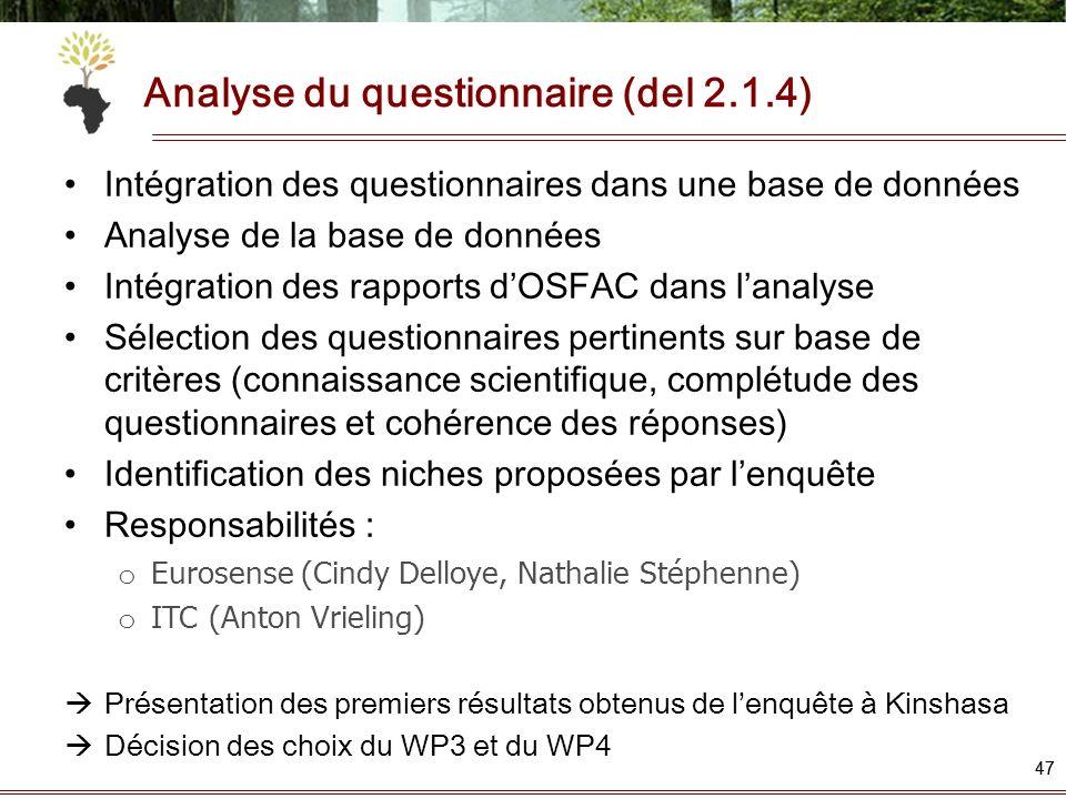 Analyse du questionnaire (del 2.1.4) 47 Intégration des questionnaires dans une base de données Analyse de la base de données Intégration des rapports