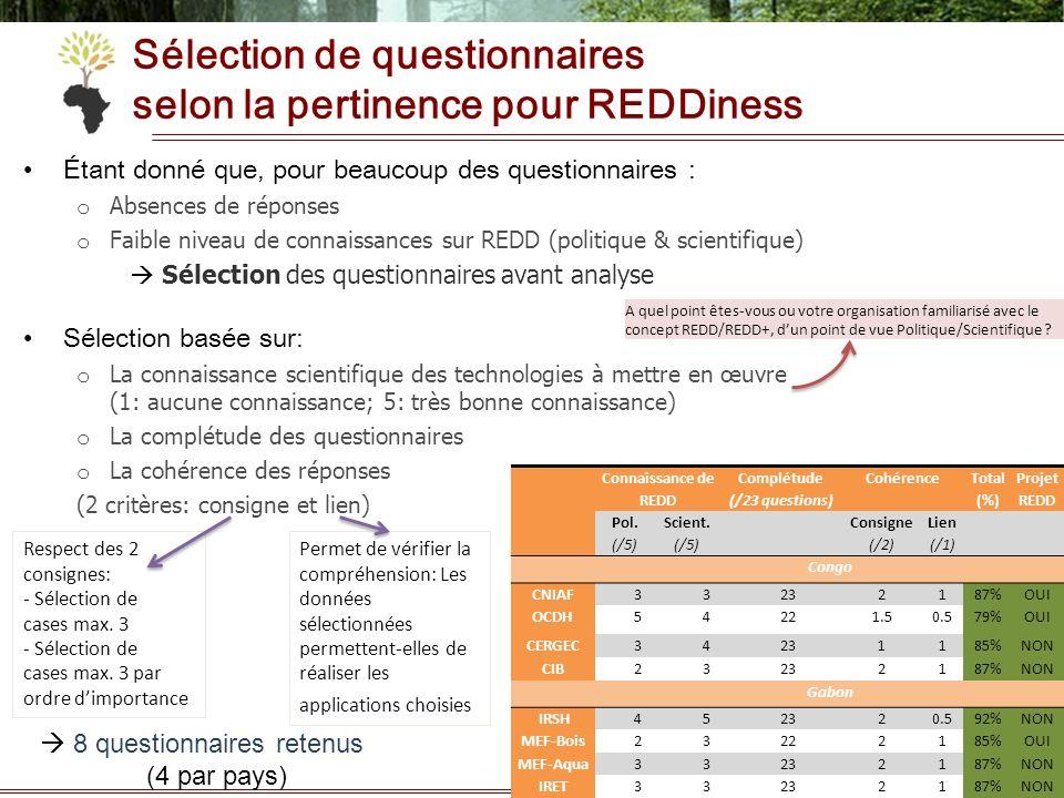Sélection de questionnaires selon la pertinence pour REDDiness Étant donné que, pour beaucoup des questionnaires : o Absences de réponses o Faible niv