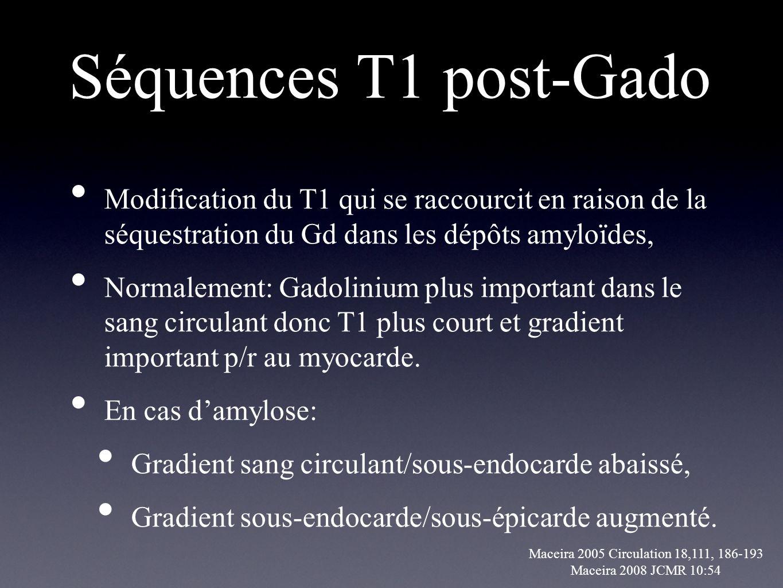 Séquences T1 post-Gado Modification du T1 qui se raccourcit en raison de la séquestration du Gd dans les dépôts amyloïdes, Normalement: Gadolinium plu