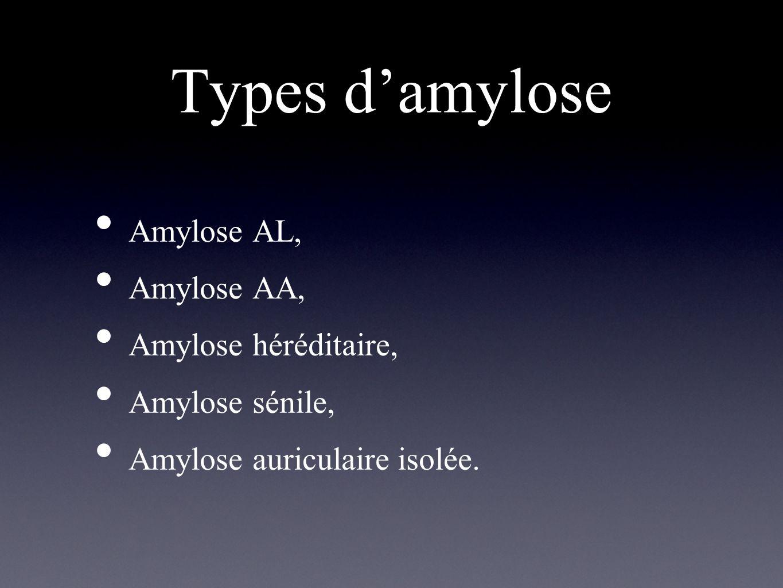 Types damylose Amylose AL, Amylose AA, Amylose héréditaire, Amylose sénile, Amylose auriculaire isolée.