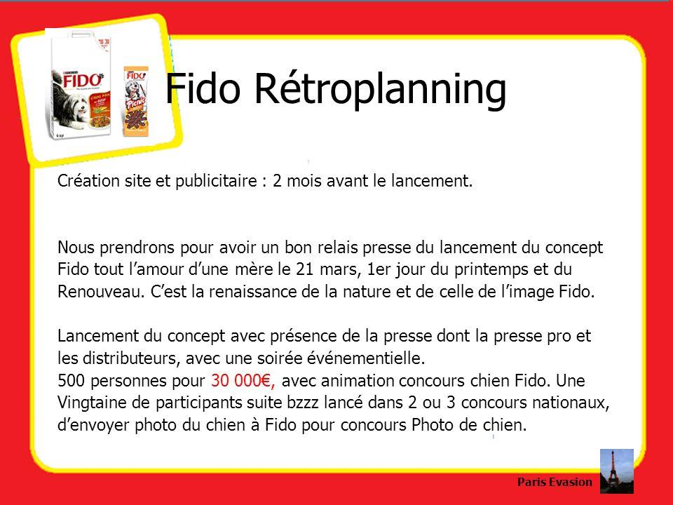 Fido Rétroplanning Création site et publicitaire : 2 mois avant le lancement. Nous prendrons pour avoir un bon relais presse du lancement du concept F