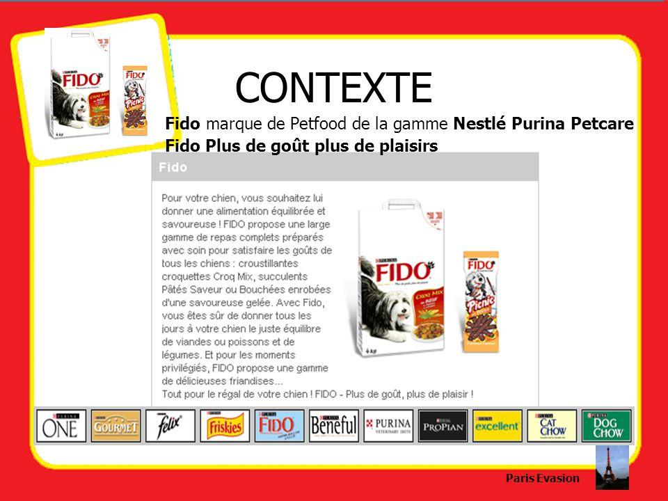 CONTEXTE Fido marque de Petfood de la gamme Nestlé Purina Petcare Fido Plus de goût plus de plaisirs Paris Evasion