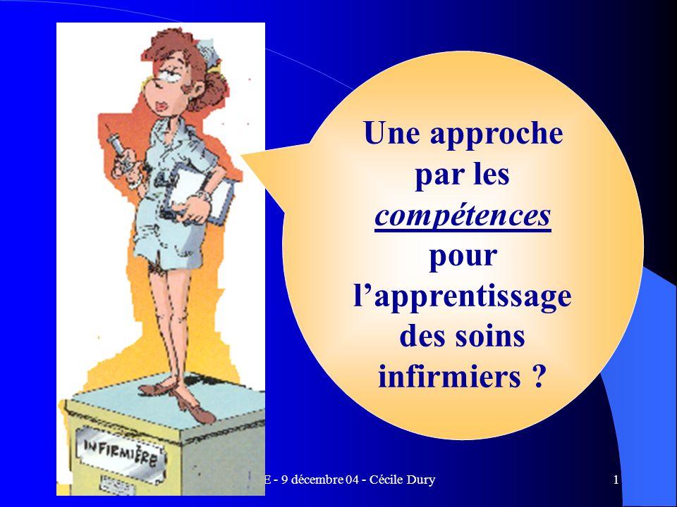 FINE - 9 décembre 04 - Cécile Dury1 Une approche par les compétences pour lapprentissage des soins infirmiers ?