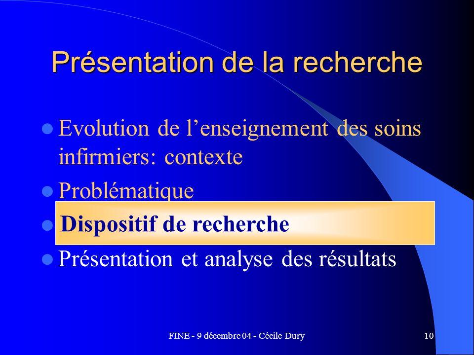 FINE - 9 décembre 04 - Cécile Dury10 Présentation de la recherche Evolution de lenseignement des soins infirmiers: contexte Problématique Dispositif d