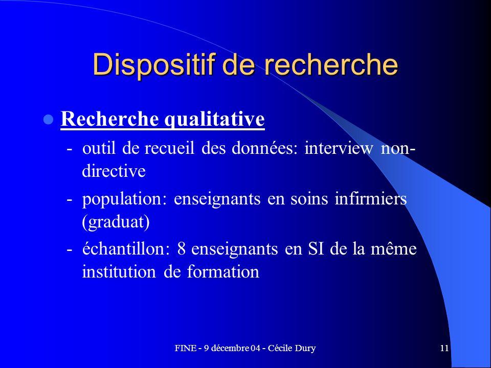 FINE - 9 décembre 04 - Cécile Dury11 Dispositif de recherche Recherche qualitative - outil de recueil des données: interview non- directive - populati