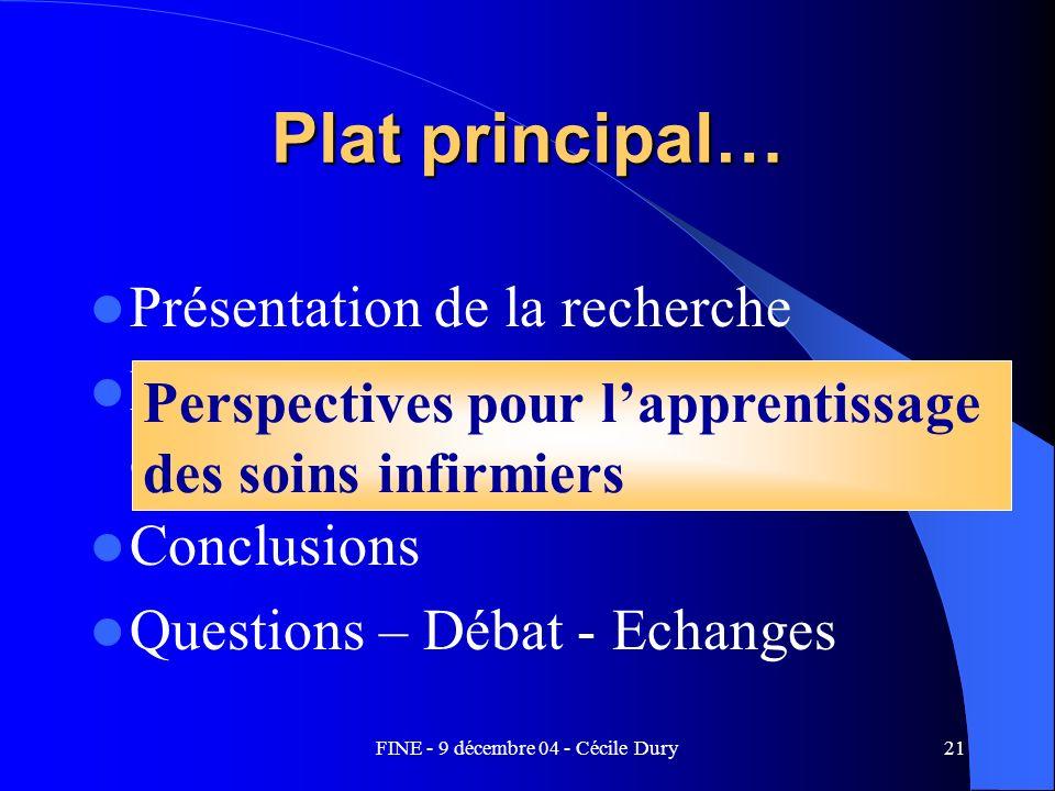 FINE - 9 décembre 04 - Cécile Dury21 Plat principal… Présentation de la recherche Perspectives pour lapprentissage des soins infirmiers Conclusions Qu
