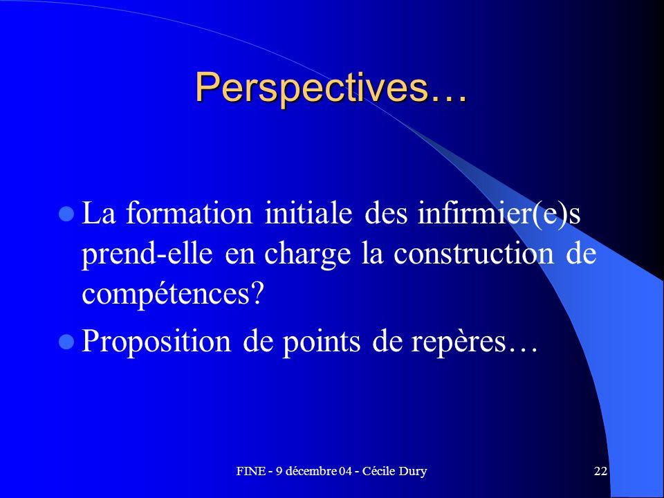 FINE - 9 décembre 04 - Cécile Dury22 Perspectives… La formation initiale des infirmier(e)s prend-elle en charge la construction de compétences? Propos