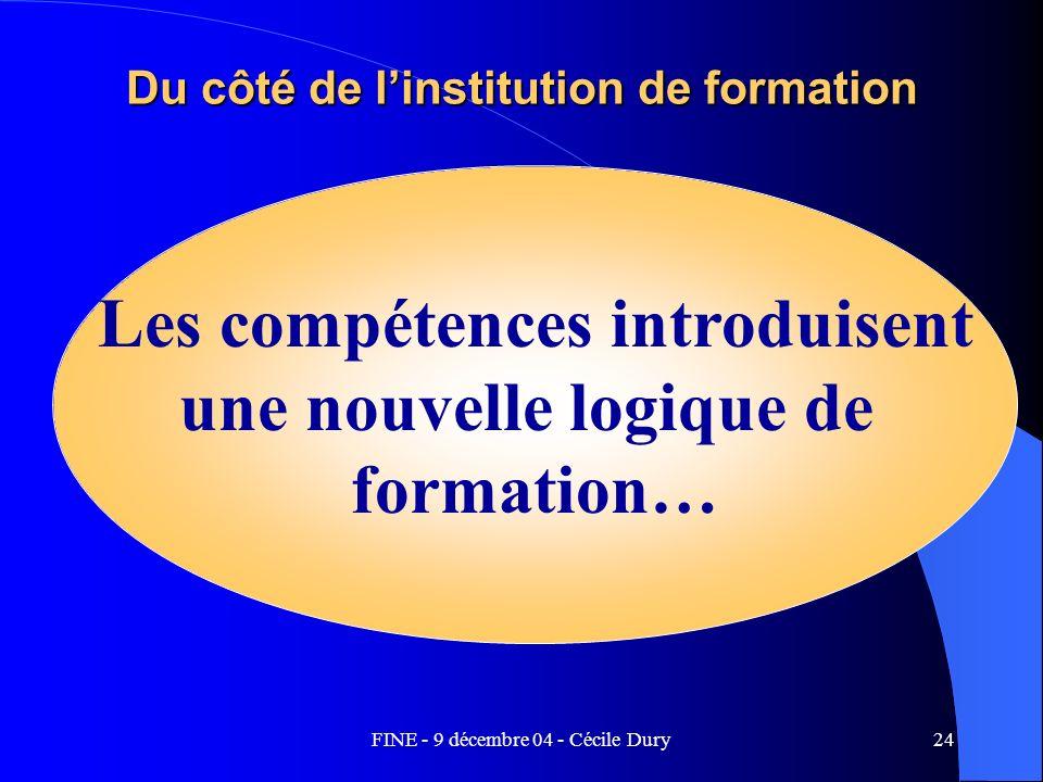 FINE - 9 décembre 04 - Cécile Dury24 Du côté de linstitution de formation Les compétences introduisent une nouvelle logique de formation…