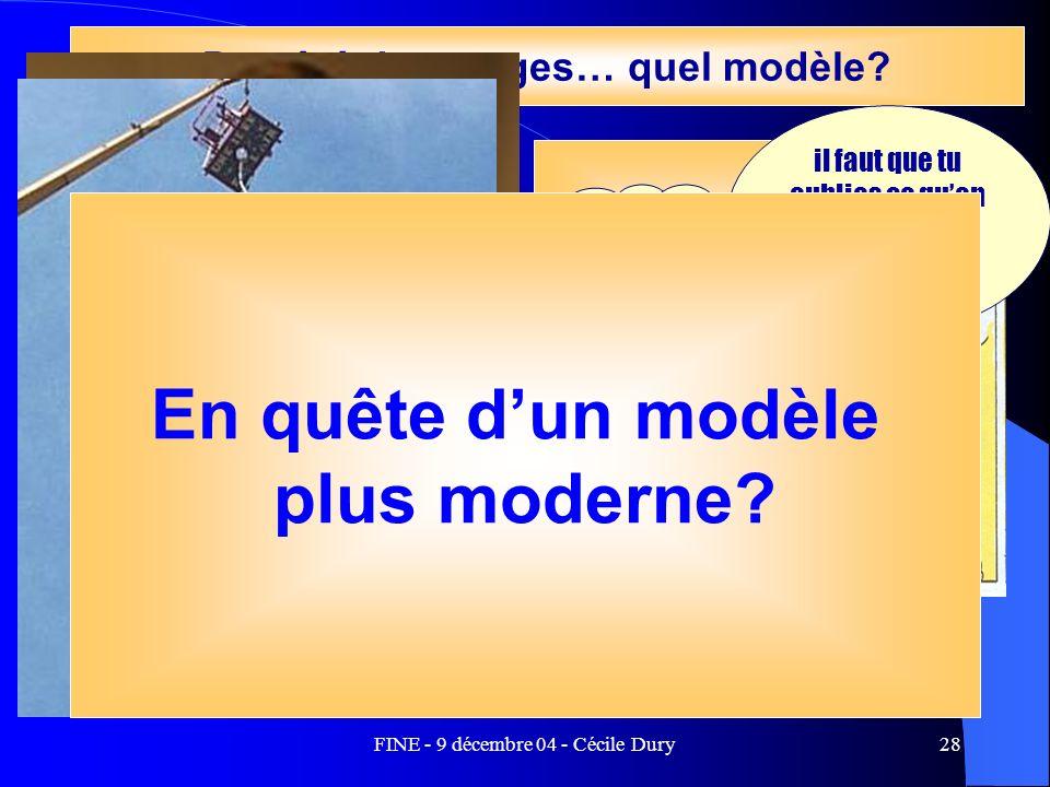 FINE - 9 décembre 04 - Cécile Dury28 Un terrain dillustration, Dapplication Le stage comme socialisation et antidote Du côté des stages… quel modèle?