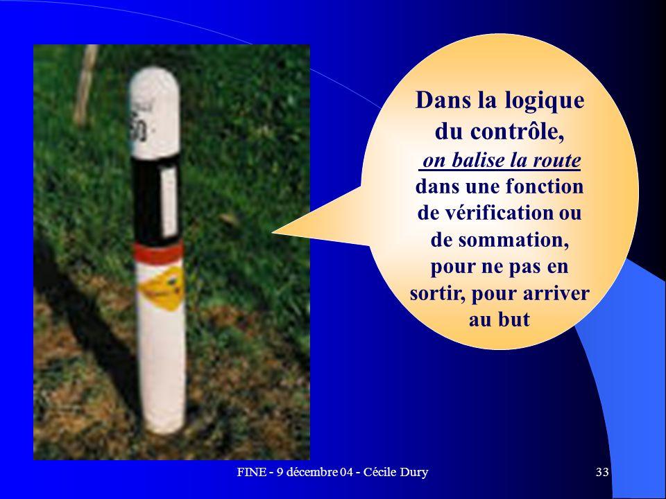 FINE - 9 décembre 04 - Cécile Dury33 Dans la logique du contrôle, on balise la route dans une fonction de vérification ou de sommation, pour ne pas en