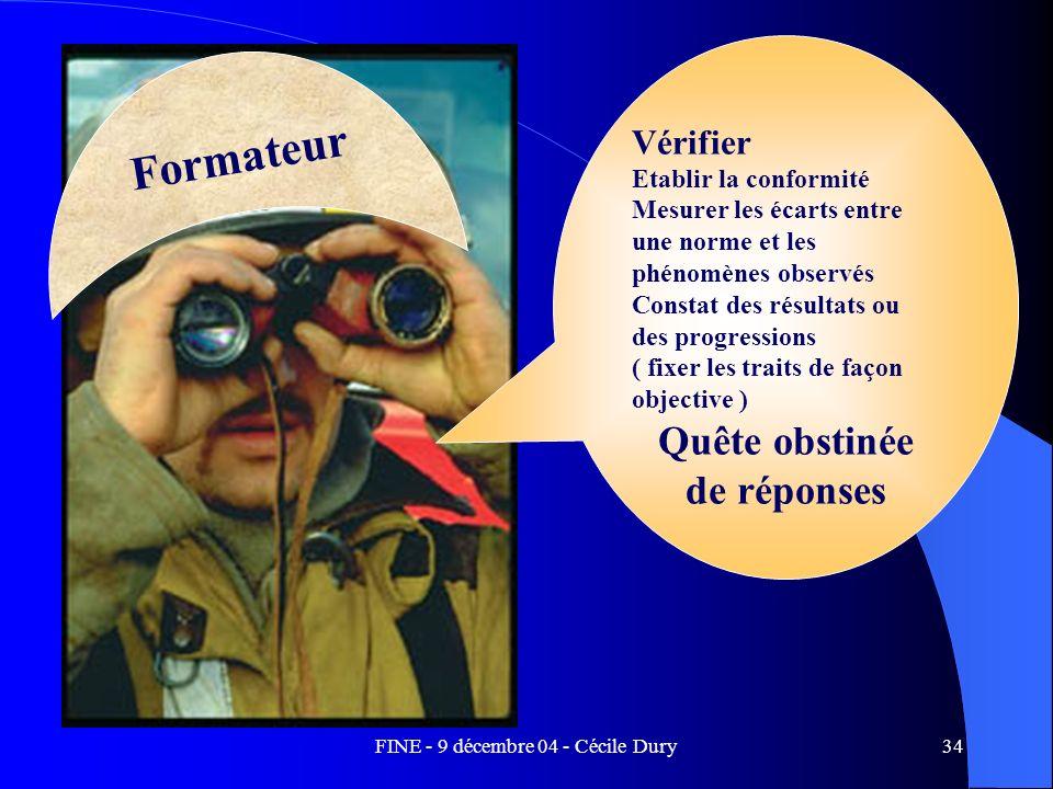 FINE - 9 décembre 04 - Cécile Dury34 Formateur Vérifier Etablir la conformité Mesurer les écarts entre une norme et les phénomènes observés Constat de