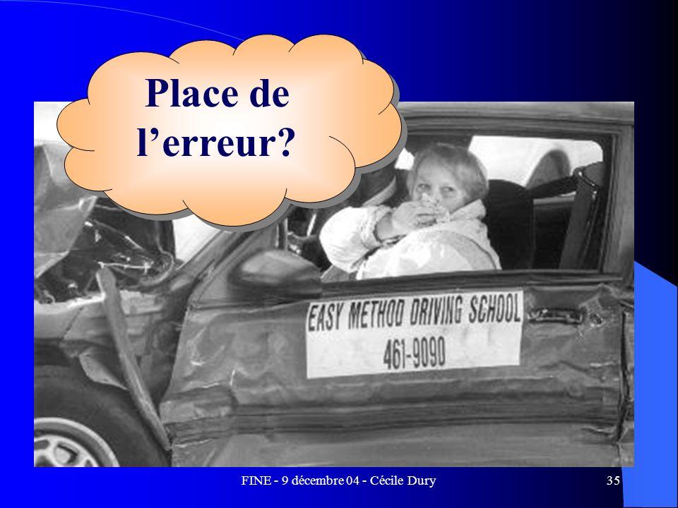 FINE - 9 décembre 04 - Cécile Dury35 Place de lerreur?