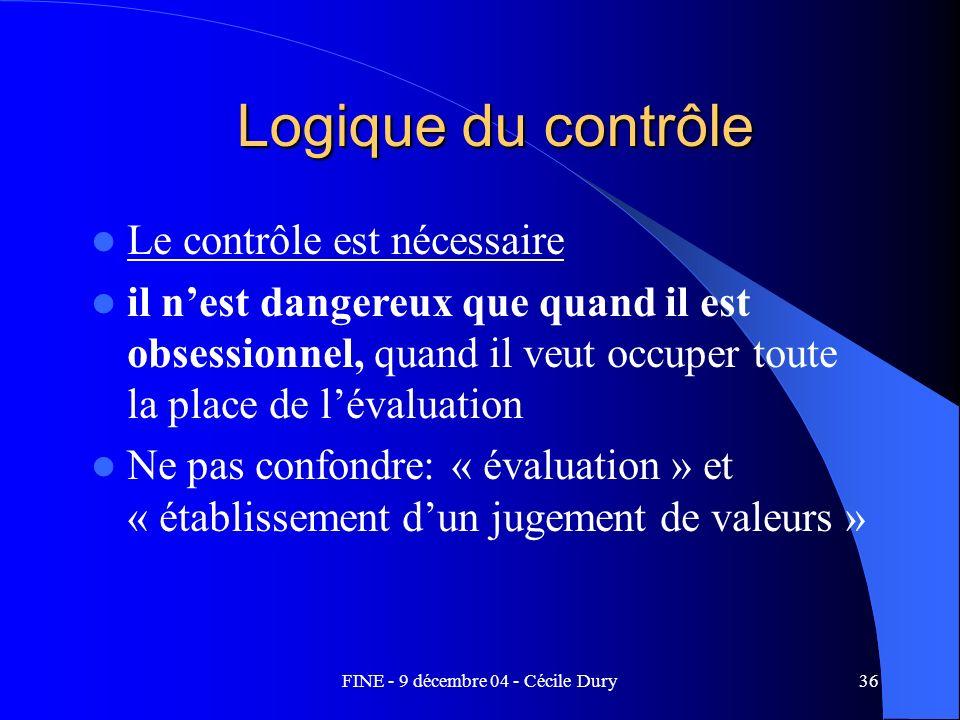FINE - 9 décembre 04 - Cécile Dury36 Logique du contrôle Le contrôle est nécessaire il nest dangereux que quand il est obsessionnel, quand il veut occ