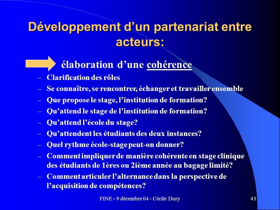 FINE - 9 décembre 04 - Cécile Dury43 Développement dun partenariat entre acteurs: élaboration dune cohérence – Clarification des rôles – Se connaître,