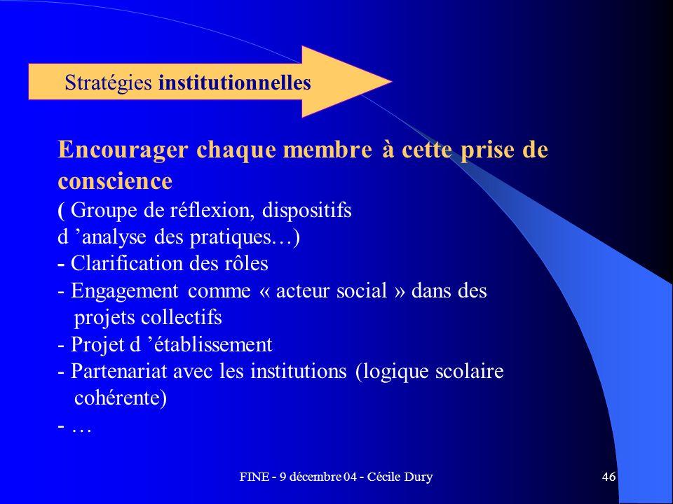 FINE - 9 décembre 04 - Cécile Dury46 Encourager chaque membre à cette prise de conscience ( Groupe de réflexion, dispositifs d analyse des pratiques…)