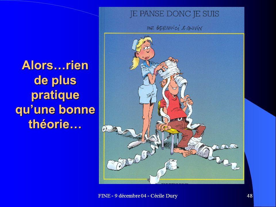 FINE - 9 décembre 04 - Cécile Dury48 Alors…rien de plus pratique quune bonne théorie…
