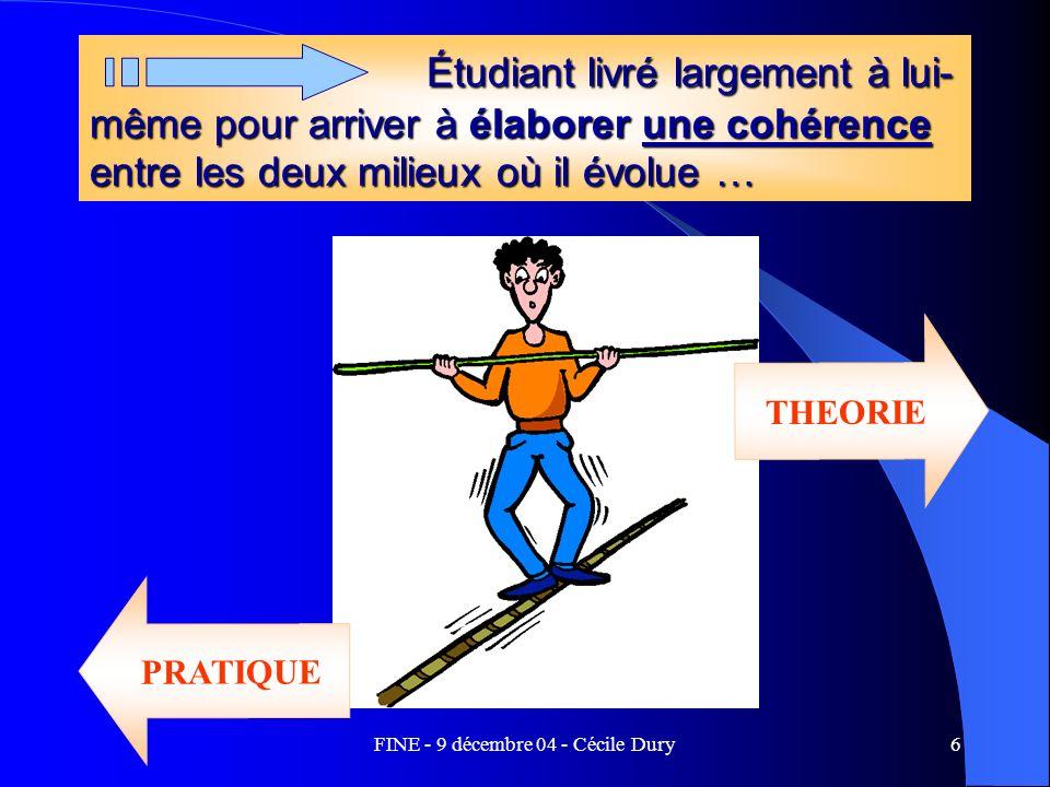 FINE - 9 décembre 04 - Cécile Dury6 Étudiant livré largement à lui- même pour arriver à élaborer une cohérence entre les deux milieux où il évolue … É