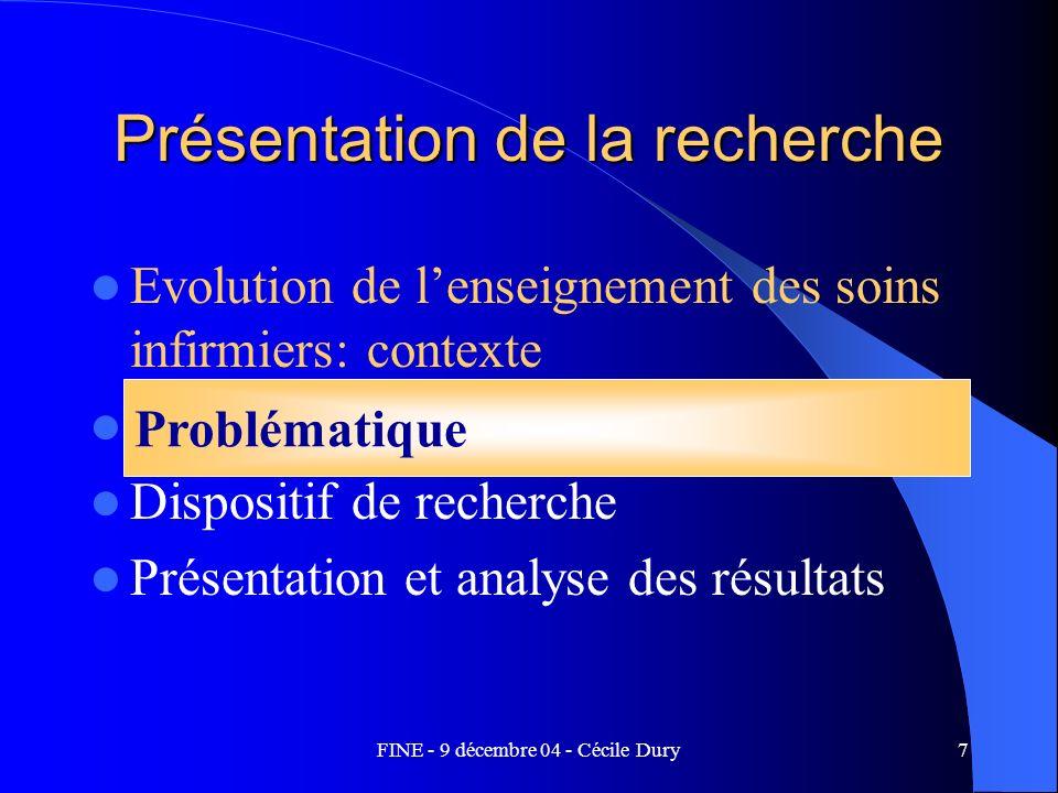 FINE - 9 décembre 04 - Cécile Dury7 Présentation de la recherche Evolution de lenseignement des soins infirmiers: contexte Problématique Dispositif de