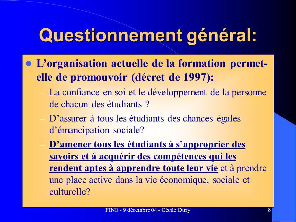 FINE - 9 décembre 04 - Cécile Dury8 Questionnement général: Lorganisation actuelle de la formation permet- elle de promouvoir (décret de 1997): – La c